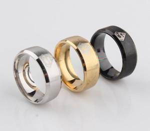316L 8MM Titanium aço inoxidável Anéis simples Men Anel Superman Logo Dedo Anéis 3 cores da moda anéis da faixa