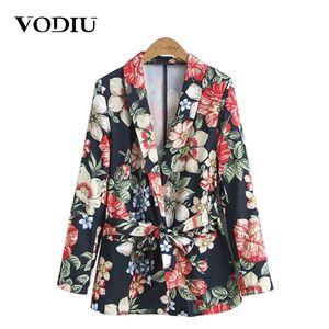 Vodiu Women Blazer Women Suit Jacket Female Floral Vintage Ladies Blazers Sashes Blazer Outwear Blazers And Jackets
