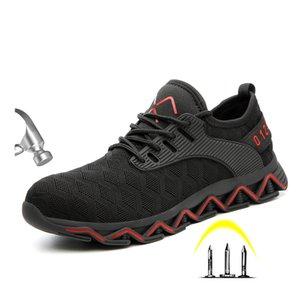 Aprovado Toe de Nova Men Moda Light Steel Anti Smashiong Sapatos de trabalho Homens Outdoor punção sapatos de segurança à prova Sneakers Botas