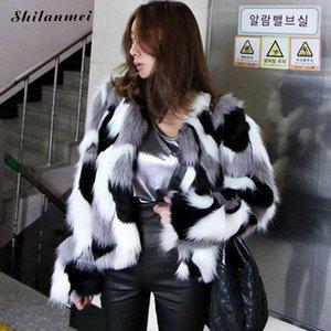 Winter Warm Fake Fur Jacket Women Black White Print Shaggy Coat Fashion Contrast Color Furry Faux  Fur Winter Coat Outerwear