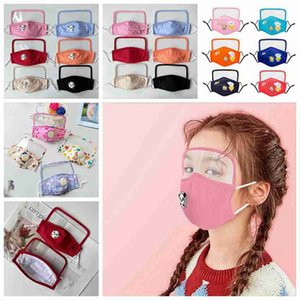 22 Styles máscaras crianças com viseira transparente lavável reutilizável Cotton Mouth máscara máscaras Dustproof Criança de protecção ZZA2400