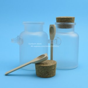 100 x 200g big frosted ABS plastic cosmetic cream container with wooden spoon,plastic bathsalt jars