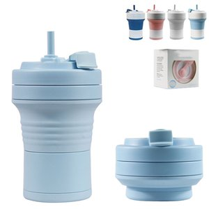 550ml Silikon Folding Cup 12 Farbe Travel Teleskop Cup Home Office Kaffeetasse Silikon-Flaschen XD23537