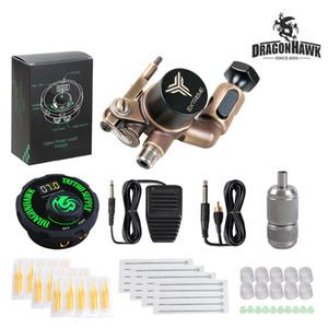 Professional Rotary Tattoo Kit Dragonhawk Extreme Rotary Motor Gun Airfoil Power Supply Needles Tips Tattoo Set