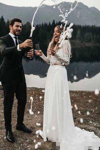 2020 Boho линия свадебные платья из двух частей кружевной аппликации шифон разведка на заказ с длинными рукавами страны свадебное платье Vestido de Novia