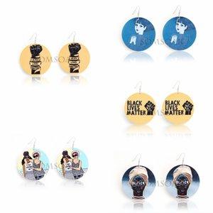 African Women Black Live Matter Round Wooden Earrings Fashion Ethnic Style Statement Earrings Drop Dangle Earring Lady Jewelry B126F
