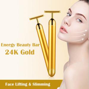 24K Gold Beauty Bar Slimming Face Massager Facial Beauty Roller Vibration Stick Lifting Skin Tightening Wrinkle Bar
