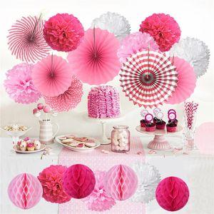 종이 팬 꽃 종이 꽃 공은 쇼핑몰 이벤트 장식, 휴일, 장식 A07 decoratin를위한 생일 파티 종이 팬 꽃을 설정