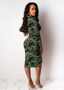 ربيع المرأة نحيل الهيئة غير الرسمية فساتين التمويه اللون على النقيض من أزياء السيدات فساتين عارضة طويلة الأكمام سليم البلوز أنثى فساتين غمد