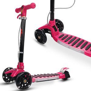 Folding Aluminum 3 LED Light Up Wheel Kids Kick Scooter Adjustable Height Play
