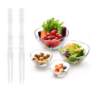 New 50Pcs   Lot Mini Clear Transparent Disposable Forks Home Dining Plastic Food Cake Fruit Fork Picks Skewer Set for Party BBQ