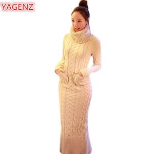 YAGENZ Outono Inverno Roupas Femininas Tricô Camisola Vestido de Moda Longa Seção Mulheres Gola Alta Manga Longa Camisola Vestido 544