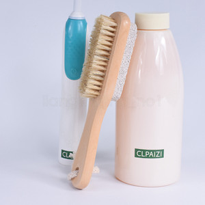 2 in 1 cleaning brushes Natural Body or Foot Exfoliating SPA Brush Double Side with Nature Pumice Stone Soft Bristle Brush FFA3099