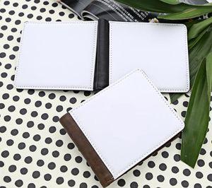 Sublimazione Blank PU doppio lato pieghevole uomo frizione portafoglio stampa a caldo stampa trasferimento termico stampa borsa in bianco
