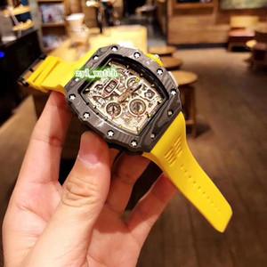 남성 명품 시계 방수 고무 스트랩 시계 탄소 섬유 블랙 케이스 시계 자동 기계 남성의 스포츠 시계