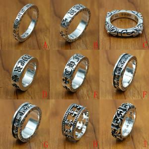 Yeni 925 ayar gümüş takı vintage stil antik gümüş el yapımı tasarımcı band yüzükler K2636 haçlar
