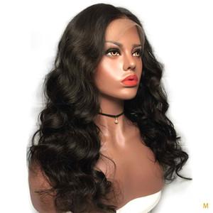 Onda del cuerpo 13 * 4 frontal de encaje pelucas de pelo humano para las mujeres bebé desplumados de pelo 130% Ratio de Brasil Remy blanqueado Medio