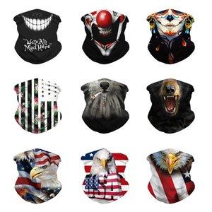 Windproof Masks Magic Scarf Printing US Flag Clown Design Outdoor Neck Face Mask Sport Fishing Cycling Hunting Hiking Bandana Scarf Masks