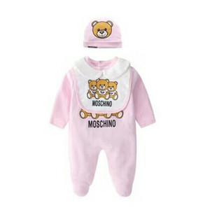 Sommer Baby Strampler Langarm Baumwolle Säuglingsoverall Cartoon Bär Baby Strampler Neugeborenes Baby Kleidung Onesies + Speichel Handtuch + Hut