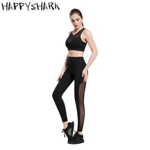 HAPPYSHARK 2020 nuevo de las mujeres de malla Yoga Legging los pantalones de estiramiento delgado de la aptitud polainas Negro Gris drak azul gimnasio de deportes pantalones de yoga