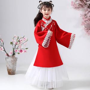 Китайские костюмы для детей Традиционных Hanfu Древней Феи платье Хань династии Тан девочек принцесса платье Дети Folk Dance одежда DN4927