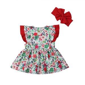 Emmababy Kleinkind-Kind-Baby-Mädchen-Kleidung mit Rüschen Blumenkleid Stirnband Sommer 2Pcs