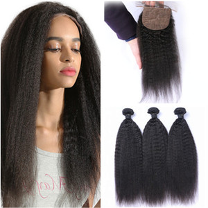 Offerte di bundles capelli umani vergini brasiliani diritti crespi 3 pezzi con chiusura superiore di seta Yaki grezzi 4x4 chiusura con base di seta con tessere 4 pezzi lotto