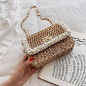 Bohemian di paglia a mano Crossbody Bags For Women 2019 Lusso Donne Borse del progettista della spiaggia di estate piccole borse a catena