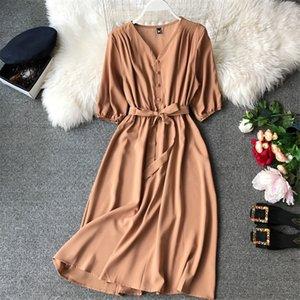 Moda Bahar Yeni V Boyun Yaz Midi Uzun Elbise Vestido De Festa Akşam Parti Bandaj Kadınlar Casual Zarif Yüksek Bel Vestidos Y190514