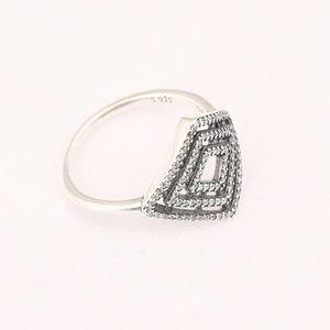 Wholesale-50 Todas las mujeres anillos S925 ataques de plata para el estilo pandora anillos geométrico anillo de líneas de 196210CZ H8ale