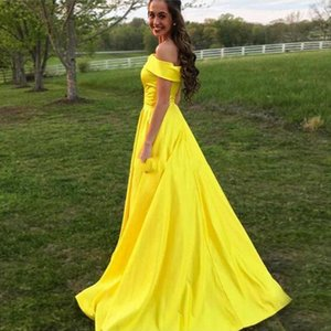2020 Modest Yellow Satin Long Simple Prom Dresses Bateau Neck Off Shoulder Aline Custom Made Cheap Evening Dresses