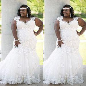 مذهلة صيف الرباط فستان الزفاف زائد الحجم البلد نمط أنيقة حورية البحر أثواب الزفاف يزين اللباس تول للعرائس متعرج