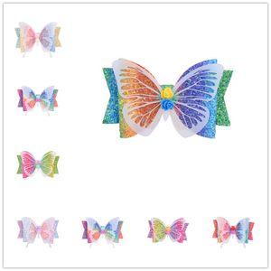 3,5-Zoll-Glitter-Bogen-Schmetterlings-Haar-Klipp-Haarnadel für Mädchen Kopfbedeckung Gradient Regenbogen-Farbhaarnadel Zubehör Kopfbedeckung Partei Strand D6408