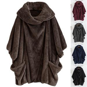 Mulheres Bat Sleeve Hoodie capuz camisola de pelúcia Outwear Tops longo Hoodies pullover casaco com bolso LJJA3123
