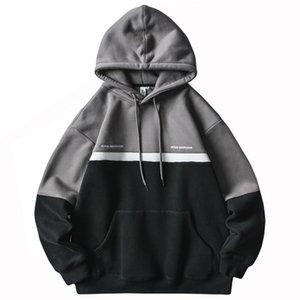 Men's Hoodies & Sweatshirts Men Patchwork Hoodie Sweatshirt Hip Hop 2021 Streetwear Color Block Harajuku Pullover Cotton Autumn Winter Fleec