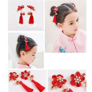 Chinese National Style Hairpins Cheongsam Hair Kids Hairpins Girls 5 Petals Flower Tassels Hair Clips Accessories