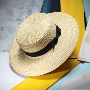 Unisexe d'été chapeaux de paille femmes large bord plat Top Beach Sunhat Sombreros Mujer Chapeau de Chapeau Hommes Chapeu Masculino D19011106