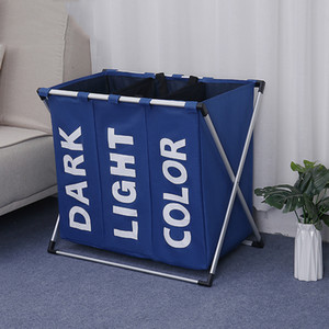 Wasserdicht Folding Wäschekorb Aufbewahrungstasche 3 Compartments Speicher-Organisator Korb schmutziger Kleidung Sundries Wash Storage Baskets DBC DH0955