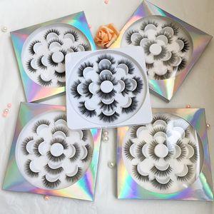 5D 가짜 밍크 속눈썹 핸드 메이드 속눈썹 꽃 트레이 자연 긴 7 쌍 가짜 속눈썹 G-EASY