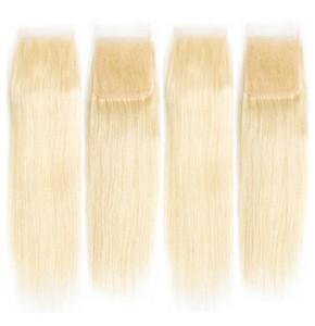 4x4 Шнурок Закрытие 10 Blonde # 613 шелковистых прямого бразильского Virgin человеческих волос Swiss Lace Top Closure для красивой женщины Fast Бесплатной доставки