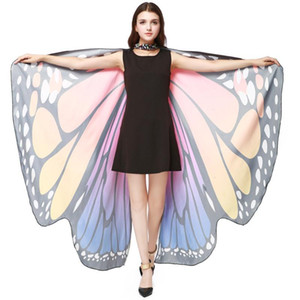 Women Shawl Scarves Butterfly Wings Nymph Pixie Fashion Ladies Poncho Costume Accessory Print Summer Wholesale d6