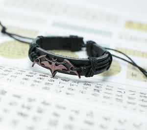 Bracelet chauve-souris signes Strand Multilayer Bracelets pour Femmes Mode Hommes Bijoux chics Personnalité Casual Vintage Punk Bracelet en cuir