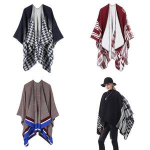 Streifen-Gitter-Schal Gabel Opening Schal-Frauen halten warmen Mantel Eindickung Im Freien heiße Verkaufs-Art- 35ym UU