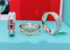 316L de titanio anillos de diamante carta amantes de acero de la boda rosa de 18 quilates de oro rosa llenos de compromiso Anel anillo Tamaño 6,7,8,9 chica Chico