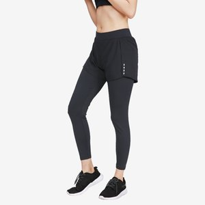 2 In 1 Women's Compression Yoga Pants with Shorts Spandex Breathable High Waist Leggings Gym Fitness Sport Jogging Running Pants Y200529