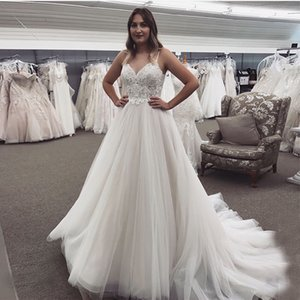 2020 Beach Wedding Dresses Lace Appliques Zipper Back A-Line Country Garden Mariage Gowns Sweep Train Robe De Mairee