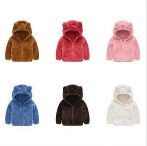 Çocuklar Ceketler Tavşan Kulak Kürk Fleece Kapüşonlular Boys Katı Kapşonlu Coat Fermuar Triko Tasarımcı Kış Jumper Butik Tişörtü Dış Giyim D6283
