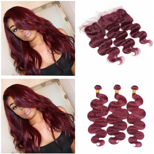 Brazilian 99j Human Hair Bundles With Lace Frontal Closure 9A Wine Red Body Wave Human Hair Weave Burgundy 3Bundles With 13*4 Full Frontals