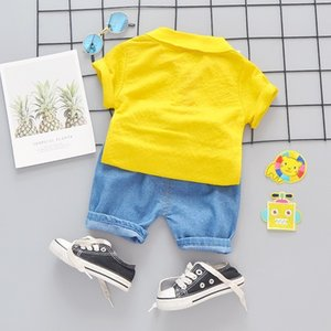 Summer Baby Girls Boys Clothing Kids Clothes Lovely Suits Lapel T Shirt Shorts 2pcs Sets Infant Children Fashion Casual Costume