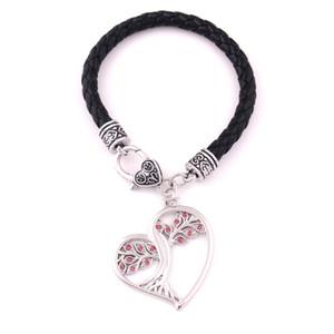 Solstice Tree Heart Shape Bracciale Pagan Druid Crystal Leather Jewelry per uomo e donna